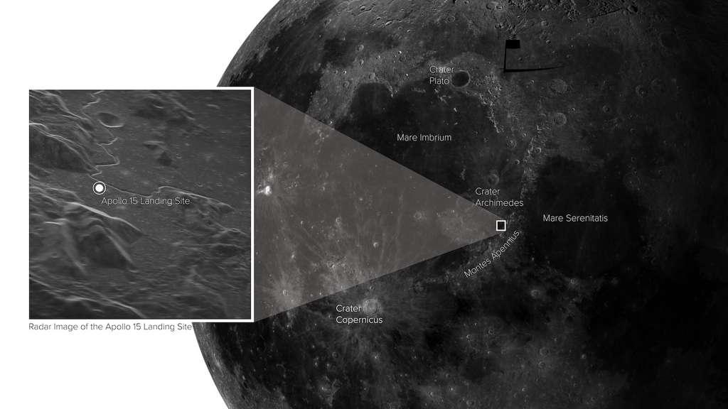 Berkat sinyal radar yang dikirim ke bulan dan baseline array yang sangat panjang (VLPA), para peneliti memperoleh gambar yang menakjubkan dari permukaan satelit kita.  © Sophia Dognello, NRAO / GBO / Raytheon / AUI / NSF / USGS