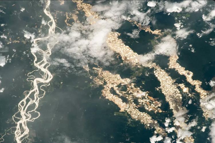 Sungai Emas di Amazon difoto dari Stasiun Luar Angkasa Internasional NASA (ISS).