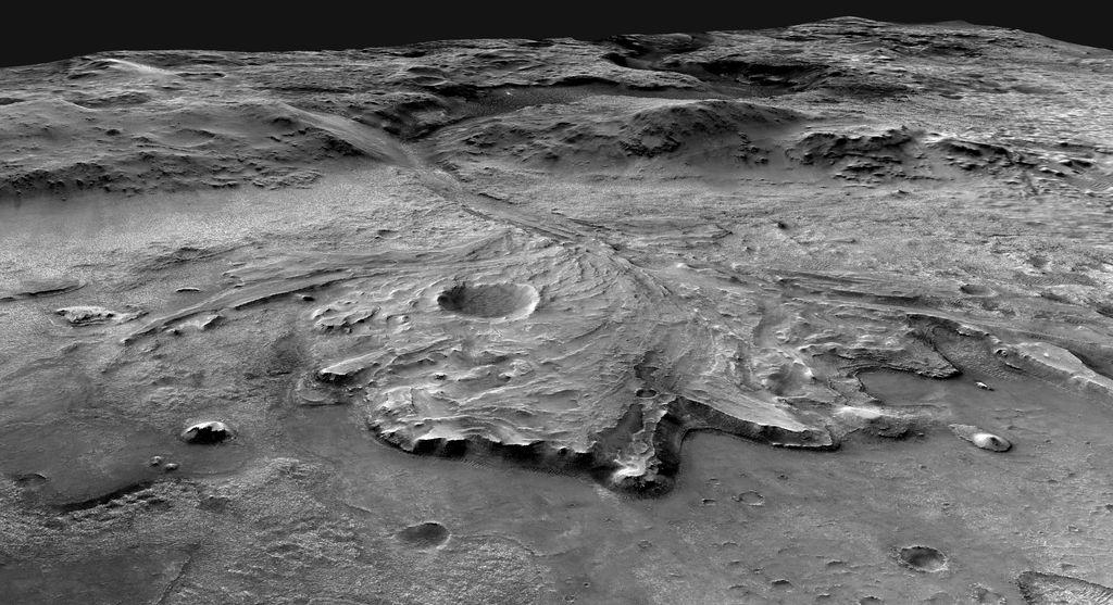 Gambar ini, diperoleh oleh NASA, menggambarkan area di mana penjelajah ketekunan Mars 2020 Jessero dapat melakukan perjalanan melintasi kawah.  Mosaik ini terdiri dari gambar yang selaras dari kamera ekosistem di Mars Reassessment Orbiter.  (NASA / JPL-Caltech / USGS melalui AP)
