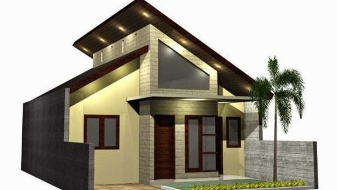 Rumah minimalis dengan atap miring membuat tampilan luarnya semakin sempurna
