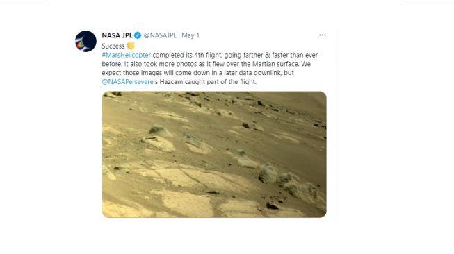 Penerbangan keempat helikopter NASA ke Mars, kecerdikan. [Twitter]